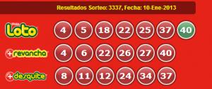 Resultados Loto Sorteo 3337 Fecha 10-01-2013