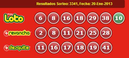 Resultados Loto Sorteo: 3341, Fecha: 20-Ene-2013